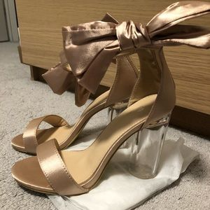 Champagne satin see through heels size 37 (7US)